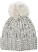 Neiman Marcus Knit Wool-Blend Pompom Hat, Gray