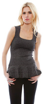Torn By Ronny Kobo Hannah Jeweled Lurex Top in Silver/Black