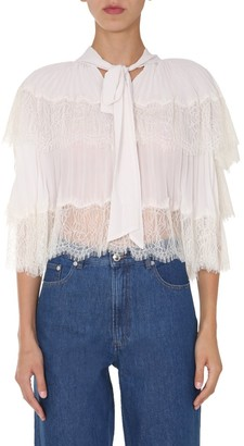 Self-Portrait Pussybow Lace Tiered Blouse