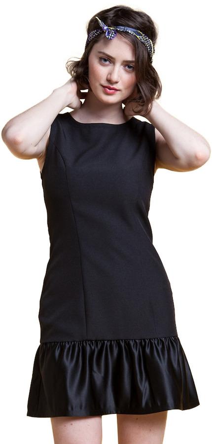 Ida Sjostedt Satin Dropwaist Ruffle Dress