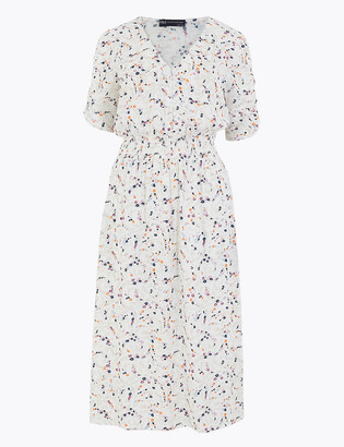 Marks and Spencer PETITE Ditsy Floral Midi Wasted Dress