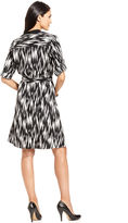 Amy Byer Dress, Long-Sleeve Graphic-Print Belted Shirtdress