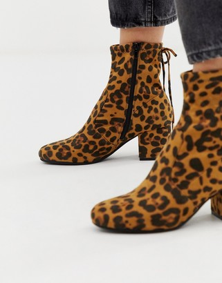 Head Over Heels By Dune Oakley block heeled ankle boots in leopard-Multi