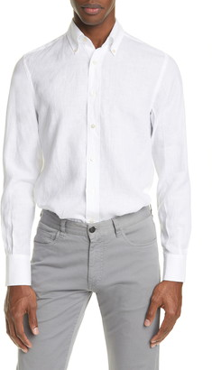Canali Regular Fit Solid Linen Button-Down Shirt