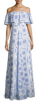 Amanda Uprichard Delilah Off-the-Shoulder Printed Dress, Blue