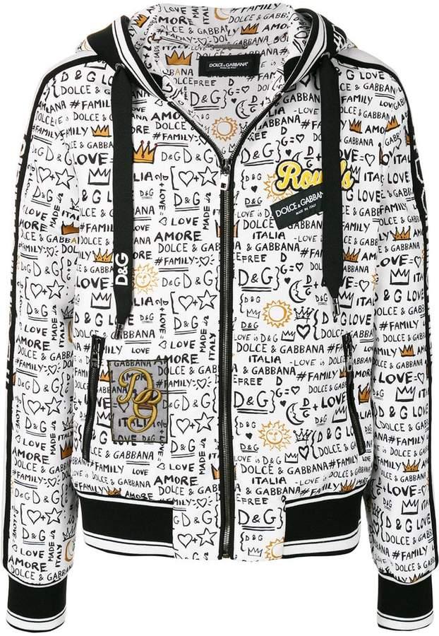 Dolce & Gabbana graffiti print zip hoodie
