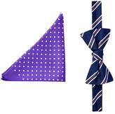 Tommy Hilfiger Stripe & Dot Silk Bow Tie & Pocket Square Set