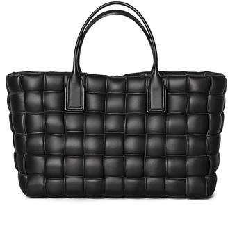 Bottega Veneta Woven Maxi Cabat Tote Bag in Black & Silver | FWRD