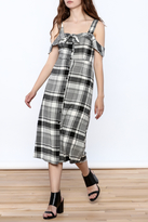 Lush Black Plaid Midi Dress
