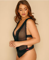 Yours Clothing Black Mesh & Lace Body With Strappy Side Detail