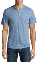 Zachary Prell Carpel Micro-Stripe Short-Sleeve Henley Shirt, Blue