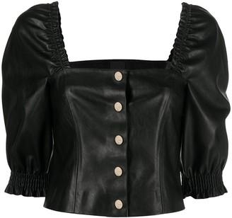Pinko Puff-Sleeve Leather-Look Top