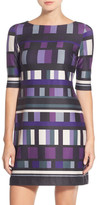 Eliza J Grid Print Ponte A-Line Dress
