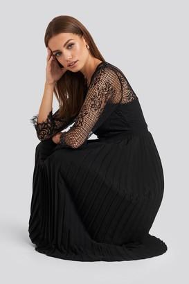 NA-KD Contrast Lace Midi Dress Black
