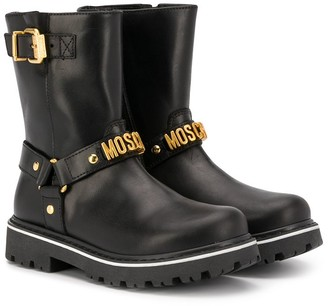 MOSCHINO BAMBINO Logo Strap Ankle Boots