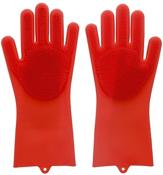 Scruba-Dub Antibacterial Silicone Cleaning Gloves Ruby Red