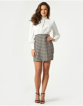 Little Mistress Keirah Houndstooth Twist Detail Mini Dress