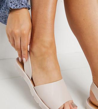 London Rebel Wide Fit slingback jelly flat sandals in beige
