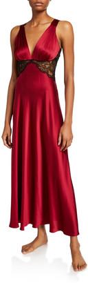 Christine Lingerie Bijou Lace-Trim Silk Nightgown
