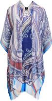 Lvs Collections LVS Collections Women's Kimono Cardigans BLUE - Blue Paisley Cape-Sleeve Kimono - Women