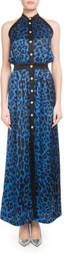 Balmain Sleeveless Button-Front Leopard-Print Silk Jersey Maxi Dress
