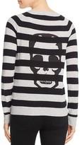 Aqua Cashmere Skull Stripe Cashmere Sweater