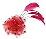 Tarina Tarantino Fashion Couture - Iconic Collection - Organza Rose Anywhere Clip w/Crystals & Feather - Fuchsia #AC03S9-108
