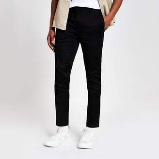 River Island Mens Black side tape skinny trousers