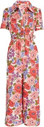 Zimmermann Poppy Belted Floral Jumpsuit