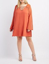 Charlotte Russe Plus Size Embroidered Lace-Up Shift Dress