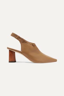 REJINA PYO Riley Leather Slingback Pumps - Light brown