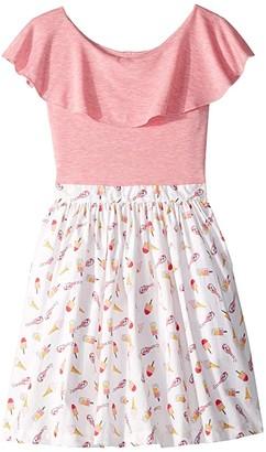 fiveloaves twofish Ruffle Collar Popsicle Dress (Toddler/Little Kids/Big Kids) (Pink) Girl's Dress