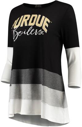 Women's Black/Gray Purdue Boilermakers Block Party Color Blocked Drapey Long Sleeve Tri-Blend Tunic Shirt