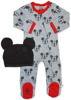 Finn + emma Baby Boys 2-Pc. Cotton Minnie Mouse Footed Coverall & Hat Set