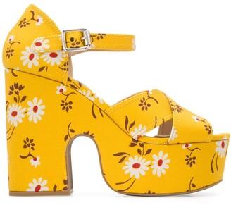 Miu Miu Daisy Print Platform 125mm Sandals
