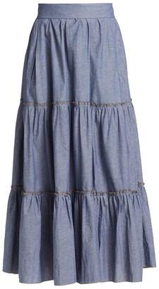 ANNA MASON Tati Tiered Chambray Maxi Skirt