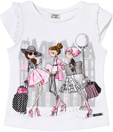 Mayoral White and Pink Fashion Girls Print Tee