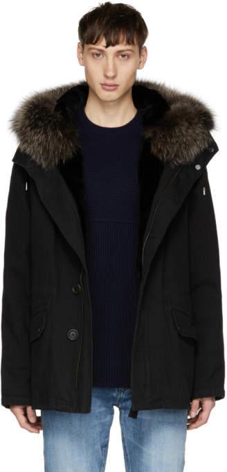 Yves Salomon Black Fur-Lined Parka