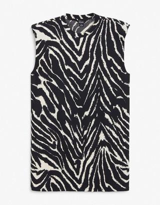 Monki Alvina organic cotton T-shirt mini dress with shoulder pads in zebra print