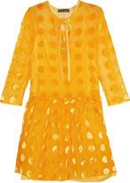 Rochas Velvet-appliquéd georgette mini dress