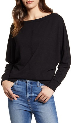 Caslon Bateau Neck Exposed Seam Cotton Blend Top