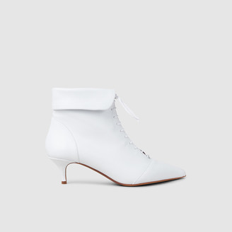 Tabitha Simmons White Larkin Leather Kitten-Heel Ankle Boots IT 36
