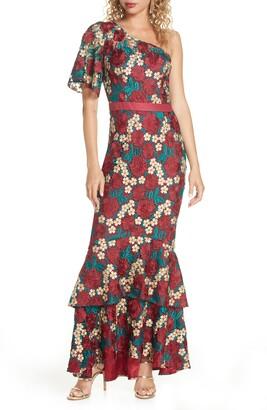 Chi Chi London Jennifer One-Shoulder Crochet Lace Evening Gown