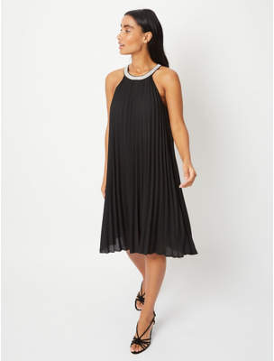Bell George Black Embellished Pleated Trapeze Dress