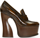 Maison Margiela Brown Leather Loafer Heels