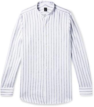 Beams Grandad-Collar Striped Linen Shirt
