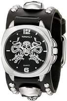 Nemesis Men's 910MKS-K Silver Dragon King of Skulls Series Black Skull Studded Leather Cuff Band Analog Display Japanese Quartz Black Watch