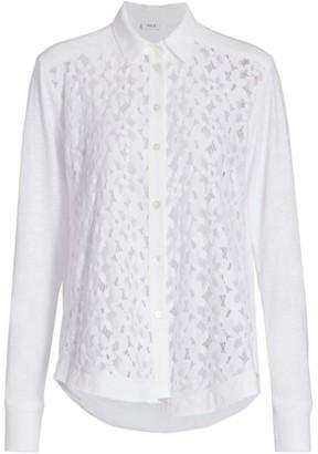 Wilt Mixed Lace Button-Up Shirt