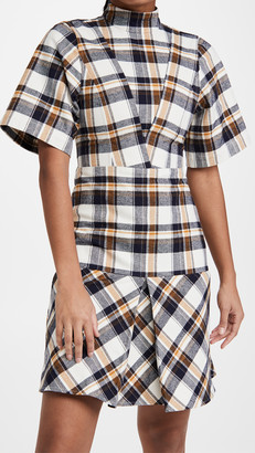 Victoria Beckham Short Sleeve Paneled Mini Dress