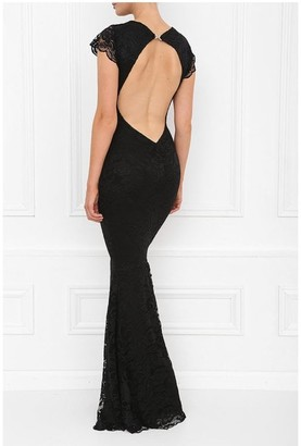 Honor Gold Faye Black Backless Lace Fishtail Maxi With Cap Sleeves